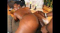 Ebony chick sucks and fucks a massive black cock