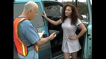Dissolute old buffer Dave Cummings explains dumb brunette bungler driver Aurora how to park a car in appropriate place