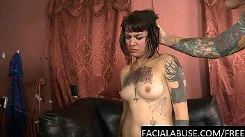 Deranged slut has her throat used